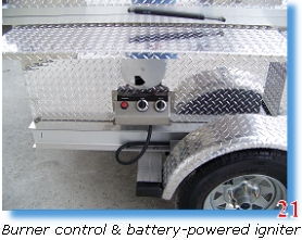Burner control & battery-powered igniter on barbecue trailer grill