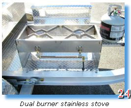 Dual burner stainless stove of trailer grill