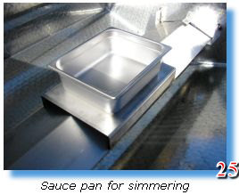 Stainless steel sauce pan included in trailer grill