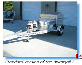 Deluxe trailer-mounted grill for barbecues