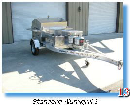 Sturdy trailer-mounted barbecue grill