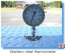 Stainless steel thermometer mounted on trailer grill